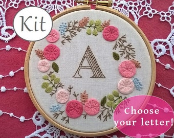 embroidery kit - hand embroidery kit - monogram embroidery pattern - initial and letter embroidery design - baby shower gift - nursery decor