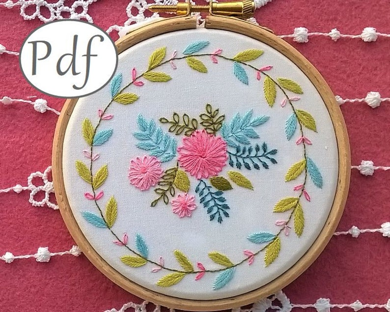 Flowers Embroidery Pattern pdf - hand embroidery design - needlepoint pdf  pattern - digital download - diy hoop art - floral embroidery