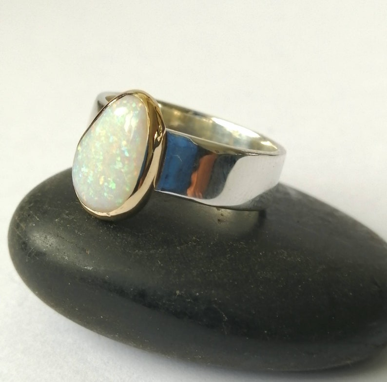 Australian Opal Ring Natural Opal Ring Solid Opal Gold and Silver Ring Modern Opal Ring US ring size 7 14 Opal Ring UK size N 12