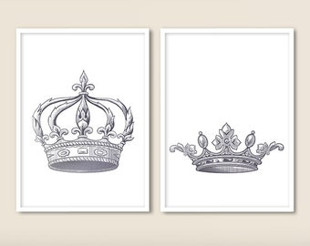 King and Queen Crown Print Set of 2 Silver, Couple Bedroom Art, King and Queen Wall Decor, King and Queen Wall Art, Bedroom Decor (NoA0211)