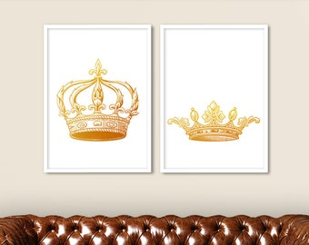 King and Queen Crown Print Set of 2 Gold Color, Couple Bedroom Art, King and Queen Wall Art, King and Queen Decor, Wedding Gift (No G-033)