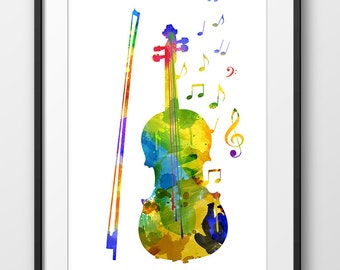 Violin Print Watercolor Poster Music Art Wall Instrument Decor A0237