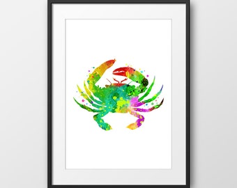 Nautical Crab Print, Crab Watercolor, Bathroom Art Print, Nautical Nursery, Nautical Art Print, Sea Life, Beach House Decor (No A0129)