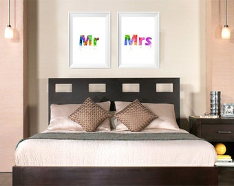 Mr & Mrs Set of 2 Prints, Watercolor Print, Couple Bedroom Art , Wedding Gift Painting, Wedding Art, Above Bed Decor (No A0449)