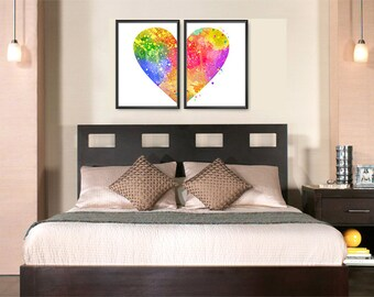 Heart Watercolor Set of 2 Prints, Home Wall Art, Couple Bedroom Art, Nursery Decor, Colorful Hear, Heart Painting (No A0371)