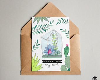 Terrarium Thank You Greeting Card
