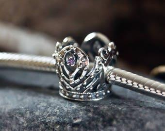 Authentic Sterling Silver Anna's Crown Charm, Frozen Princess Anna Crown Charm w/ Purple CZ  perfect fit for pandora or european bracelets