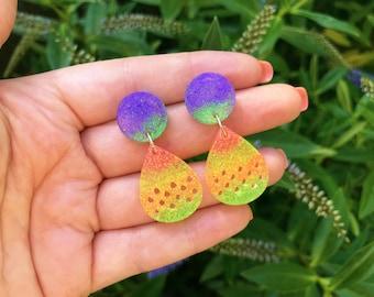 Rainbow Glitter Dangle Earrings - Statement Earrings