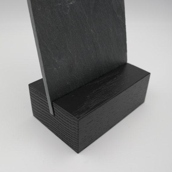 Aufsteller Eiche Schwarz Mit Schieferplatte 22 5 X 10 Cm Ca Din Lang