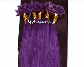 Purple U tip Fusion Straight Remy Human Hair Extensions 10 Strands 50 grams Colored Nail Shape 20 inch Keratip Keratin Glue Tipped Streaks