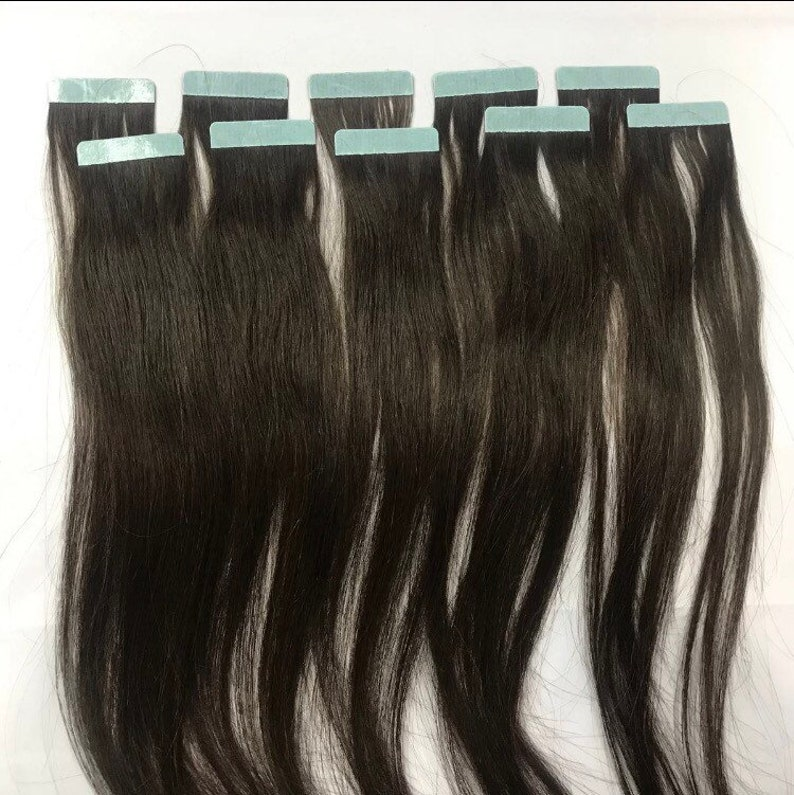 10 Pieces Chocolate Brown Remy Human Hair Tape In Extensions Streaks 15 Inches