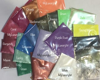 Lot of 20 1 gram each MICA Copper Red Orange Yellow Green Blue Purple Gold Pigment Soap Making Mineral Makeup Lotion Shimmer Powder Samples