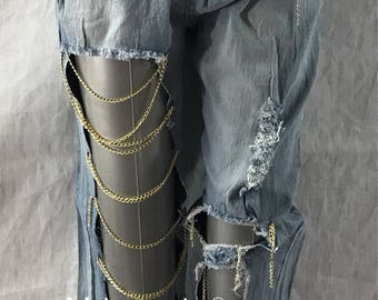 Delicately Destroyed Ripped Light Blue Jean Gold Chains Statement Jeans 1 legged thigh Big Holes hand done Jewelry Jeans Open Pant Design