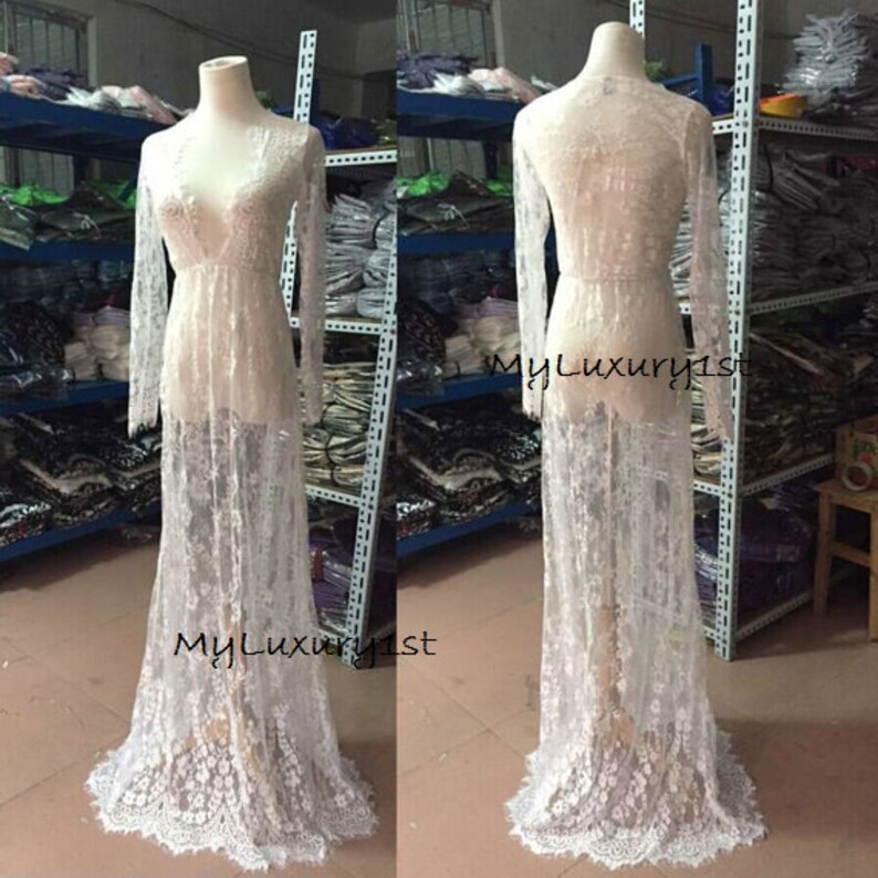 XL DENISE Floor Length See Through White Lace Sexy Women Night image 0