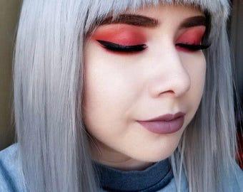 Crazeyard Eye Shadow swatches on the eye lid by MyLuxury1st Red-Orange pigment powder transition eyeshadow A little goes a long Way