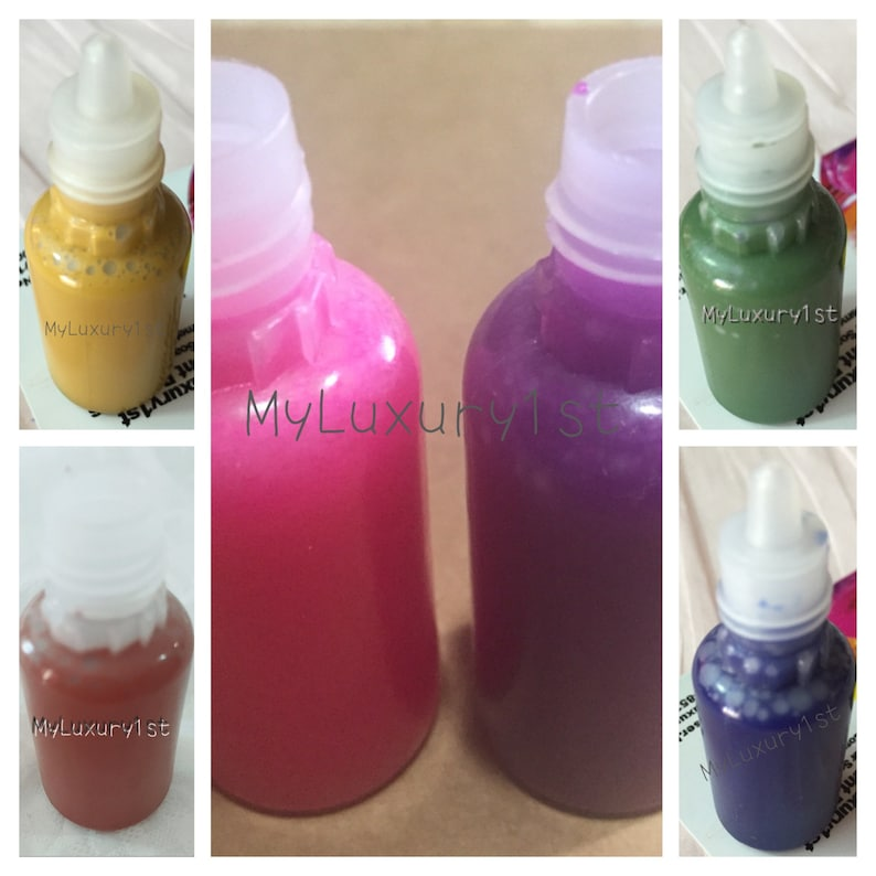 6 Color lot of Melt and Pour Liquid Soap Colorants Yellow, Burnt Orange,  Pink, Plum Purple, Green, and Blue Matte MP Clear Glycerin Soap Bar