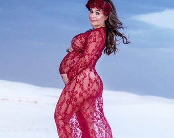 Long Length See Through Burgundy Lace Maternity Sexy Pregnant Belly Dress Photography Pictures pregnancy shoots CUSTOMER PHOTO ALERT