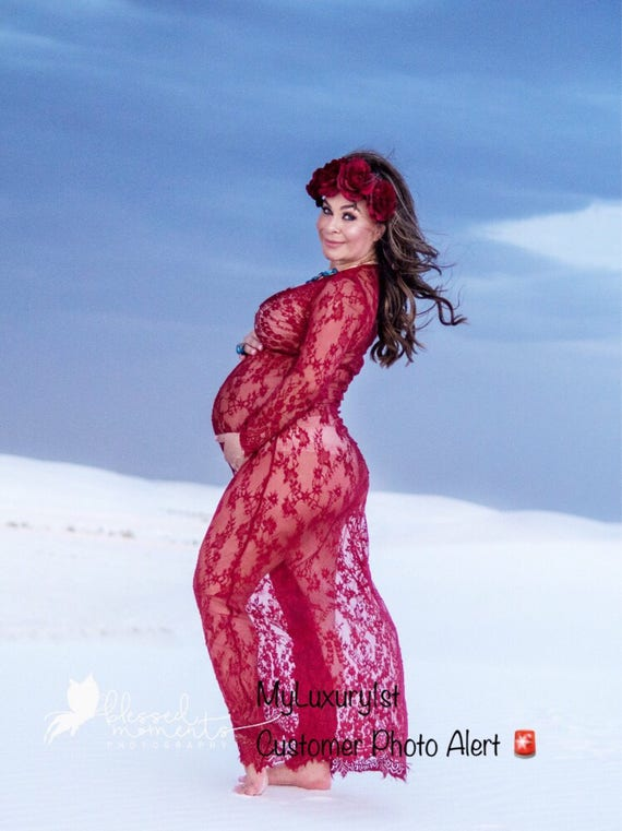 Long Length See Through Burgundy Lace Maternity Sexy Pregnant  f83326bdc