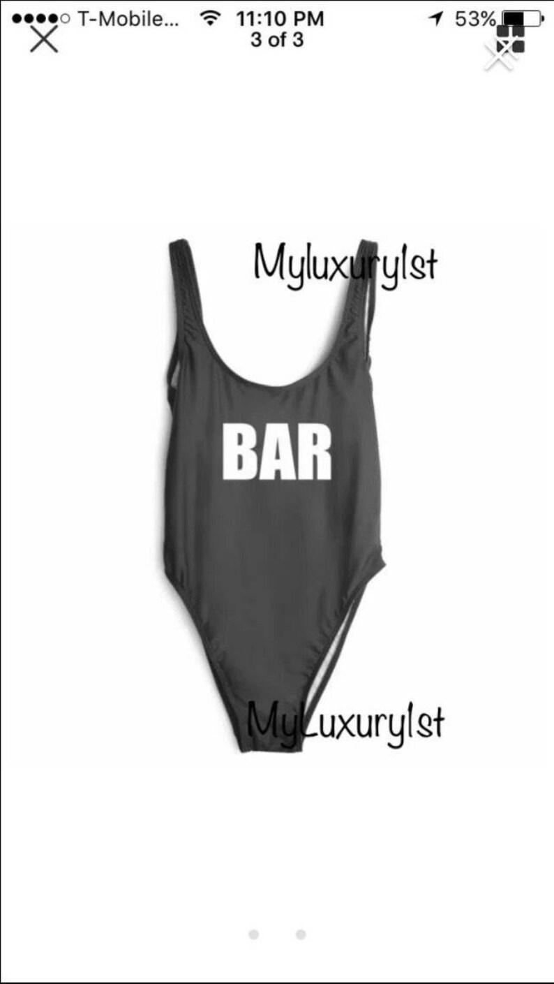 785096158e1 BAR Custom Words Personalized Slogan Women's Swimsuit Wear | Etsy