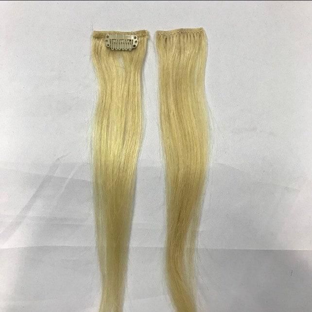 2 Piece Bleach Blonde Remy Clip In Hair Extension Streaks 10g Etsy