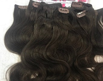 7 pieces Remy Human Hair Clip in Clipin Extensions Loose Body Wavy 69 grams 15-19 inch length