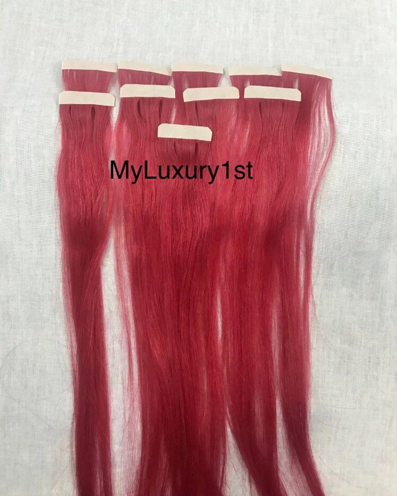 10 Pieces Tape in Dark Pink Remy Tape Human Hair Extensions 25 image 0