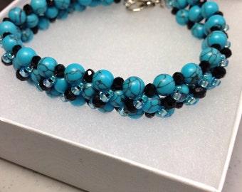 Turquoise bracelet, gem stone bracelet, beaded bracelet, gift for her, Mother's day gift, Birthday gift, Anniversary gift,gift for women