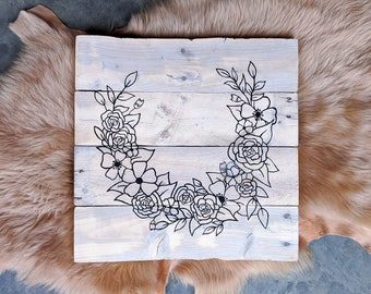 Floral Wreath Sign | Reclaimed Pallet Wood Decor | Hand Drawn and Painted Florals