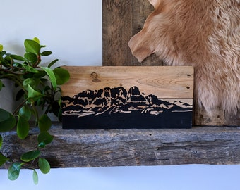 Castle Mountain Scene Rustic on Reclaimed Pallet Wood // Made to Order