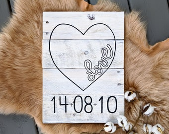"""Custom with date Colored """"Love"""" Heart Painted Pallet Wood Sign / Nursery Gift / Housewarming / Gallery Wall // Made to Order"""