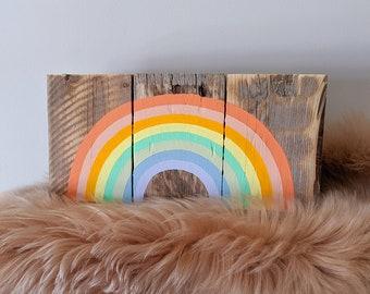 Multicolor Rainbow Sign / Handpainted on Reclaimed Pallet Wood / Pastel Colored Rainbow Art / Nursery Decor / LGBTQ / Mini Version