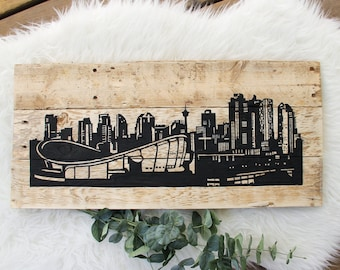 Calgary Skyline Sign | Reclaimed Pallet Wood Decor | Rustic Art | Hand Painted | Downtown Buildings | Cityscape | YYC | The Core
