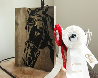 Horse Silhouette Sign | Reclaimed Pallet Wood Decor | Hand Painted Horse Face |  Rustic Farmhouse Art | Equestrian Decor