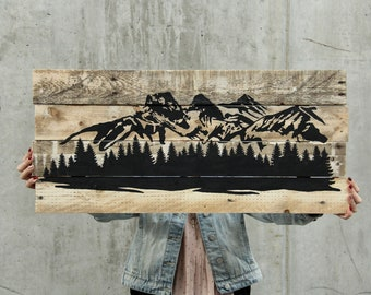 Three Sisters Canmore Mountain Scene Rustic on Reclaimed Pallet Wood // Made to Order