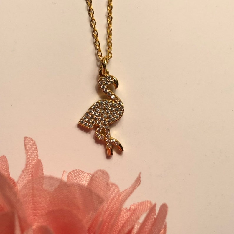 Flamingo necklace Unigui gift Necklace, Gold Necklace, Gold Jewelry