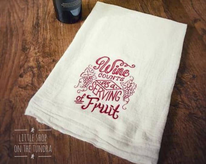 Wine Inspired Embroidered Hand Towel