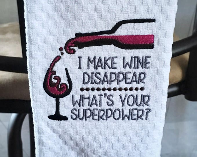 Wine Inspired Embroidered Towels - Made in Alaska