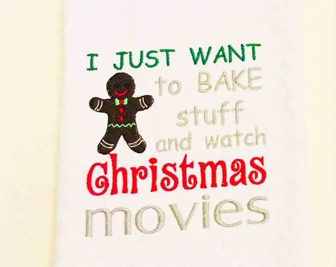 I just want to bake stuff Embroidered Kitchen Towel or Apron