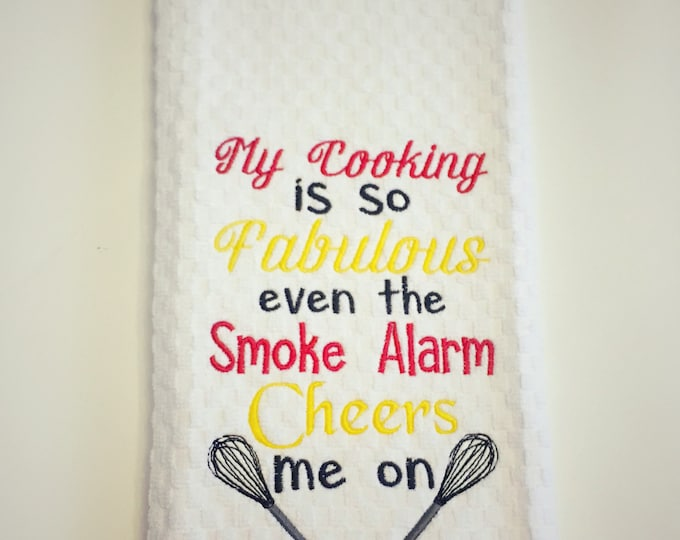 My Cooking is Fabulous Embroidered Kitchen Towel or Apron