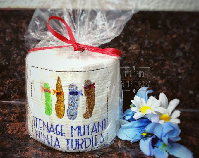 Teenage Mutant Ninja Turdles - White Elephant Gift Embroidered Toilet Paper