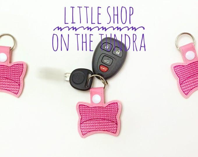 Pink Cat Hat Snap Tab, Key Fob
