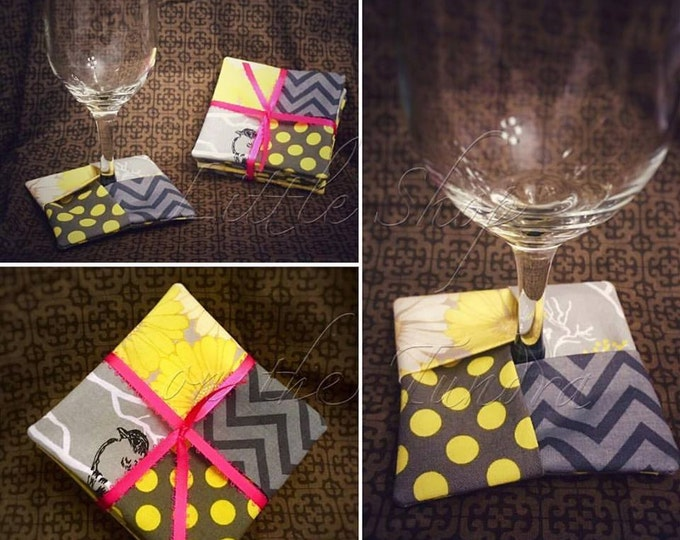 Fabric Wine Glass Coasters - Champagne Glass Coasters - Save the Table, Keep the Wine - Set of Four