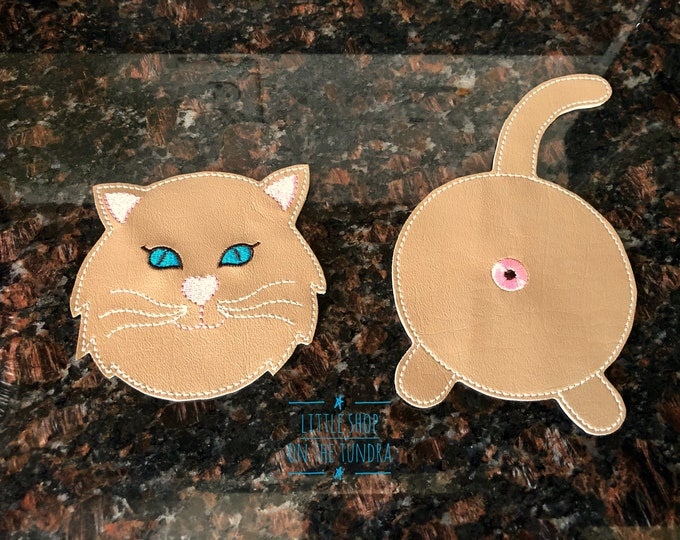 Cat Butt and Cat Face Coaster Set