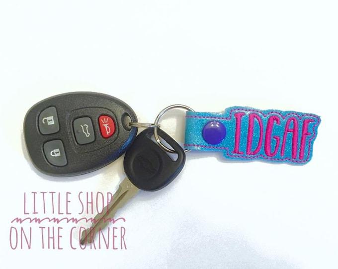 Adult Only - IDGAF - key fob, snap tab, key ring