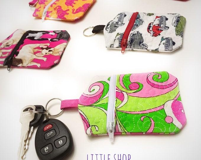 Key Chain Zip Pouch - Credit Card - Cash - Made in Alaska