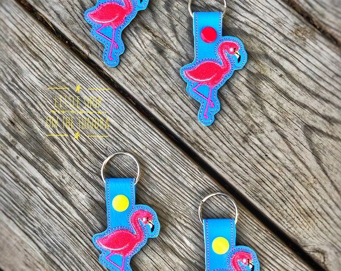 Flamingos!! - Snap Tab, Key Fob
