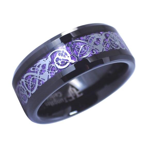 Fantasy Forge Jewelry Black Tungsten Royal Purple Celtic Dragon Ring 8mm Womens Mens Wedding Band Sizes 6-15