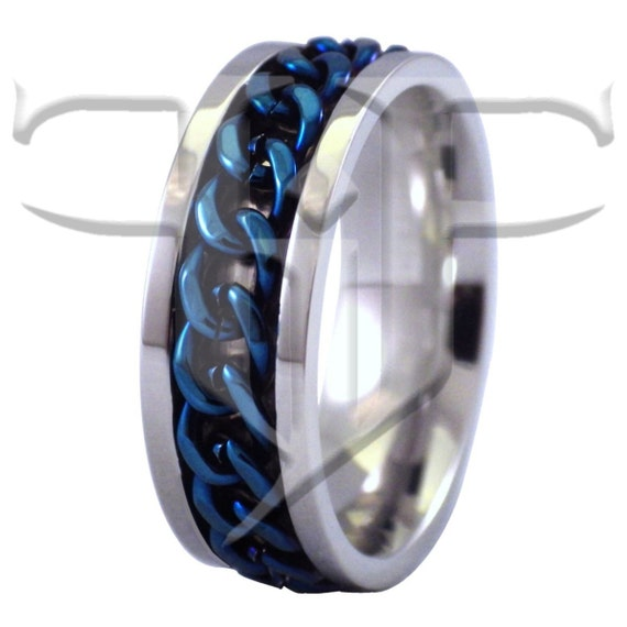 blue spinner ring stainless steel blue chain spinner ring etsy. Black Bedroom Furniture Sets. Home Design Ideas