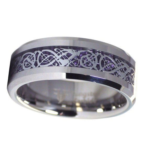 Royal Purple Celtic Dragon Ring Womens Mens Tungsten Band Size Etsy