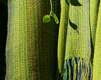 SALE 25% OFF marked price: Handwoven shawl in hedgerow green alpaca and yak wool